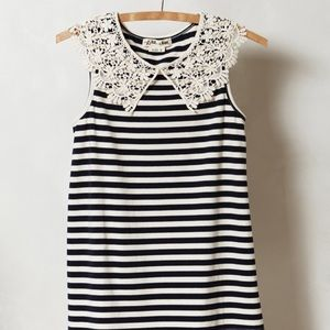 GUC Anthropologie lace collar striped top